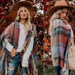 Plaid scarf poncho knit cardigan cover up